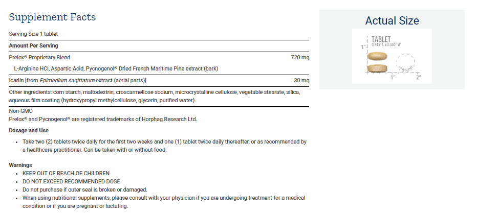Tabela Nutricional Prelox® Enhanced Sex