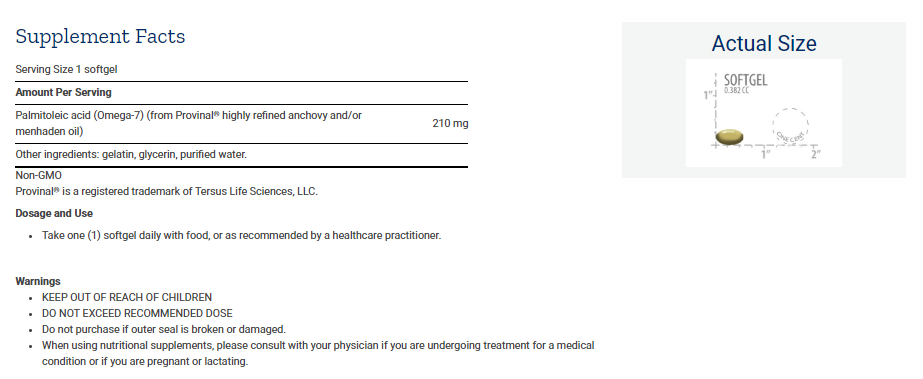 Tabela Nutricional Provinal® Purified Omega-7
