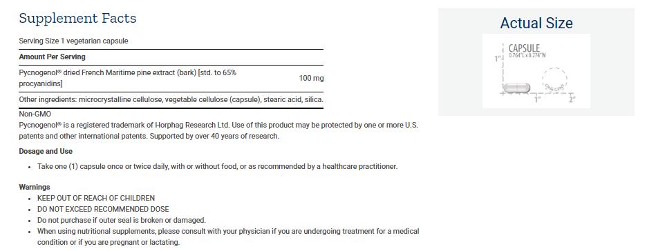 Tabela Nutricional Pycnogenol®