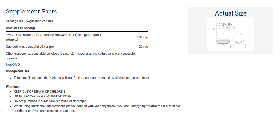 Tabela Nutricional Resveratrol
