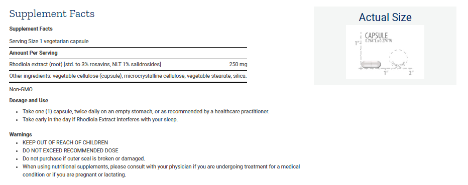 Tabela Nutricional Rhodiola Extract