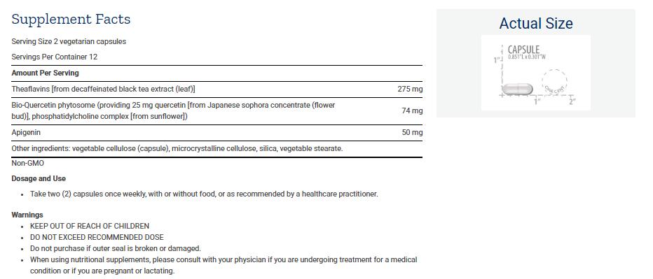 Tabela Nutricional Senolytic Activator