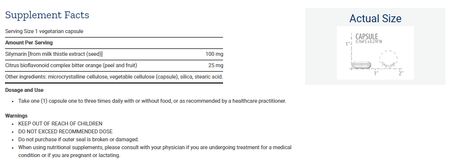 Tabela Nutricional Silymarin