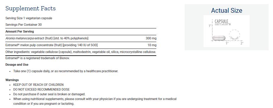 Tabela Nutricional SOD Booster