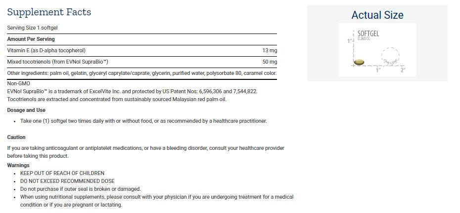 Tabela Nutricional Super Absorbable Tocotrienols