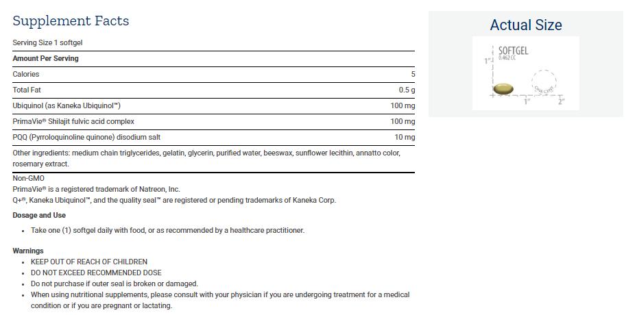 Tabela Nutricional Super Ubiquinol CoQ10 with PQQ