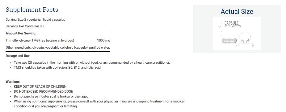 Tabela Nutricional TMG 500mg