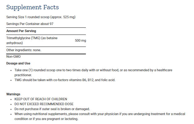 Tabela Nutricional TMG Powder