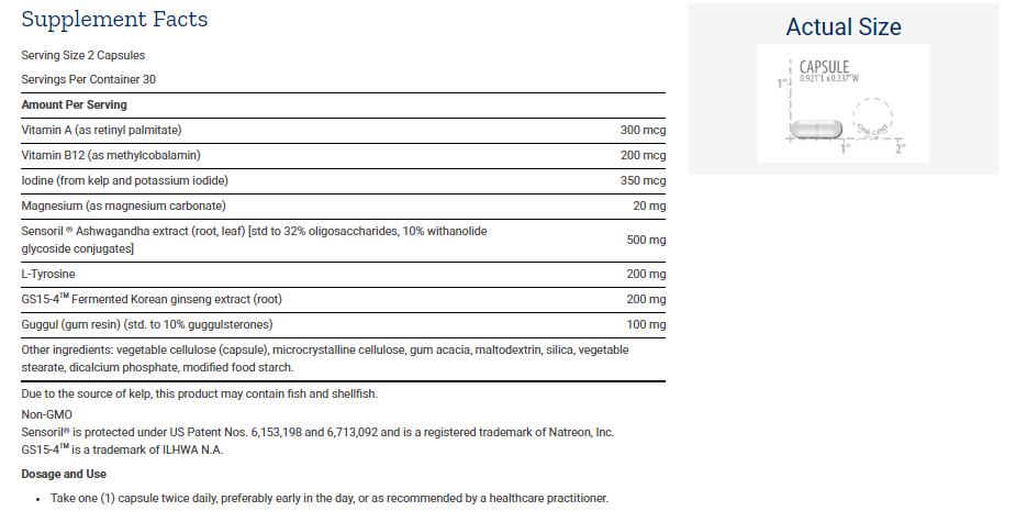 Tabela Nutricional Triple Action Thyroid
