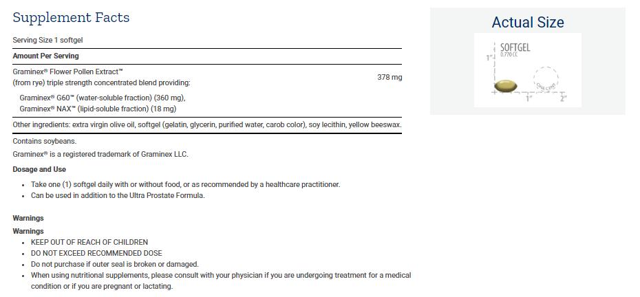 Tabela Nutricional Triple Strength ProstaPollen™