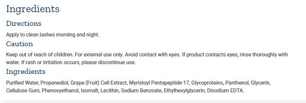 Tabela Nutricional Ultra Eyelash Booster