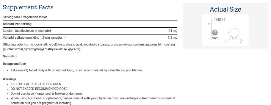 Tabela Nutricional Vanadyl Sulfate 7.5 mg