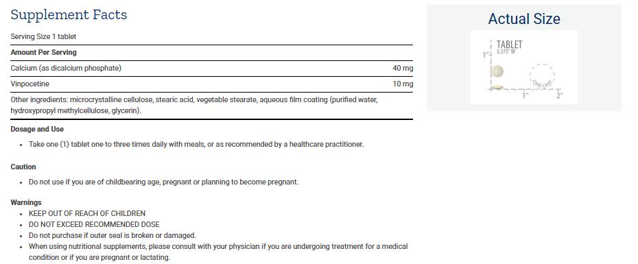 Tabela Nutricional Vinpocetine 10 mg