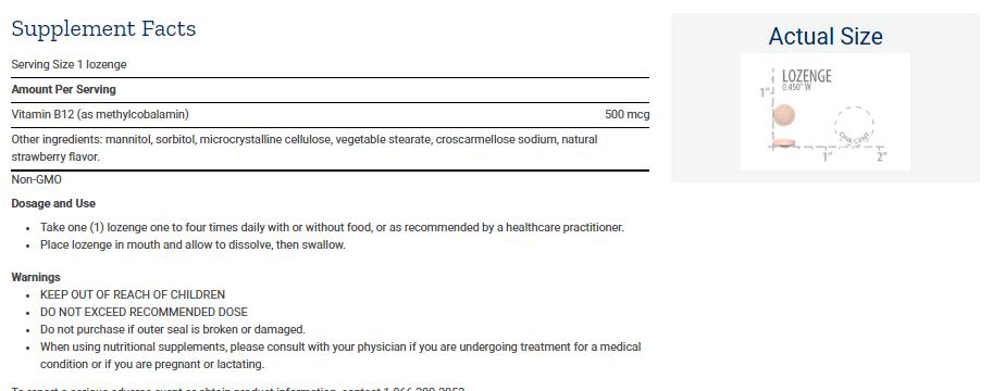 Tabela Nutricional Vitamin B12 - 500 mcg