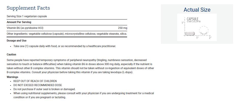 Tabela Nutricional Vitamin B6 • 250 mg