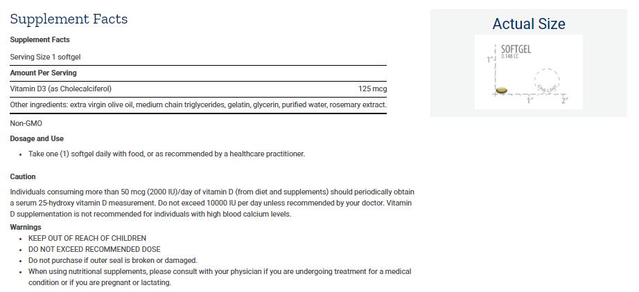 Tabela Nutricional Vitamin D3  - 125 mcg (5000 IU)