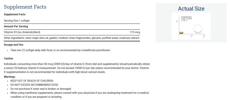 Tabela Nutricional Vitamin D3 - 175 mcg (7000 IU)
