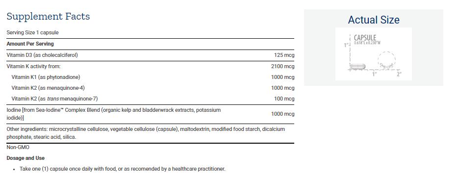 Tabela Nutricional Vitamins D and K with Sea-Iodine™