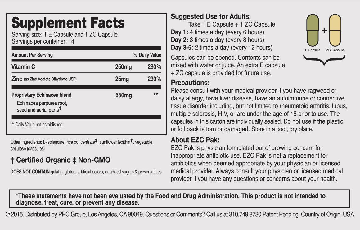 Tabela Nutricional EZC PAK 5-DAY - 2 COUNT VALUE PACK