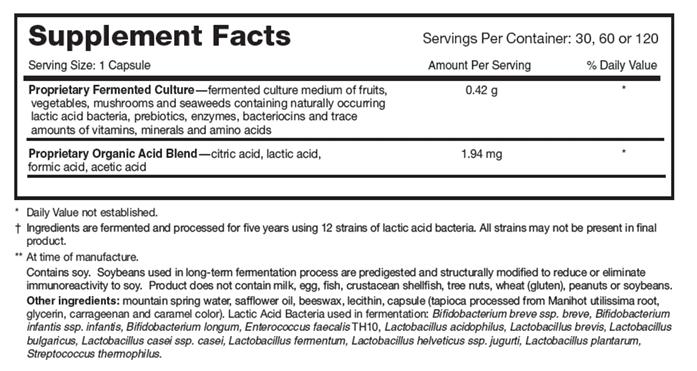 Tabela Nutricional Dr. Ohhira's Professional Formula