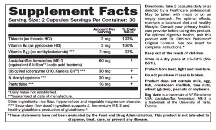 Tabela Nutricional RegActiv - Cardio Wellness by Essential Formulas