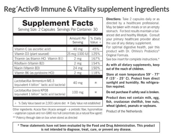 Tabela Nutricional RegActiv - Immune & Vitality by Essential Formulas