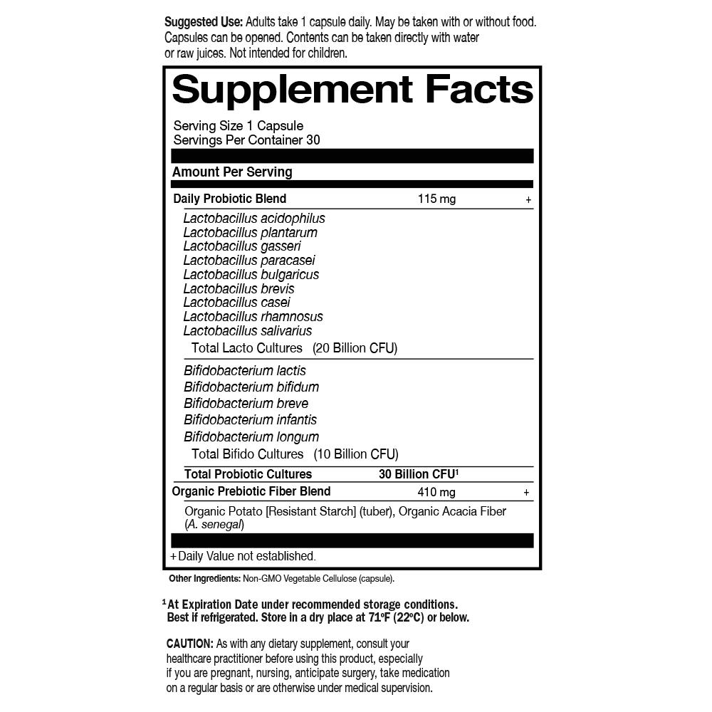 Tabela Nutricional Dr. Formulated Probiotics Once Daily 30 Billion CFU Cooler