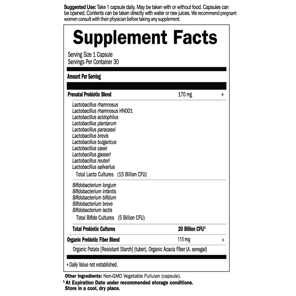 Tabela Nutricional Dr. Formulated Probiotics Once Daily Prenatal Shelf-stable