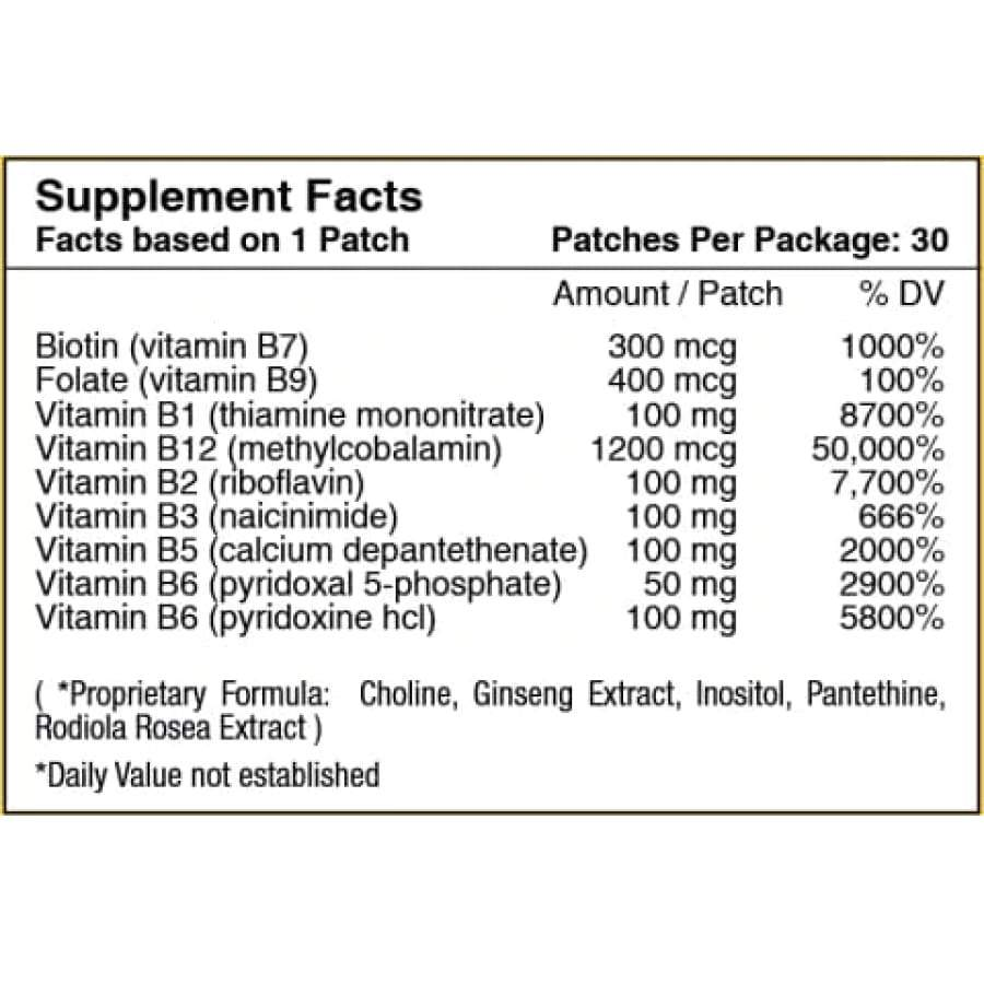 Tabela Nutricional B12 Energy Plus Vitamin Patch by PatchAid