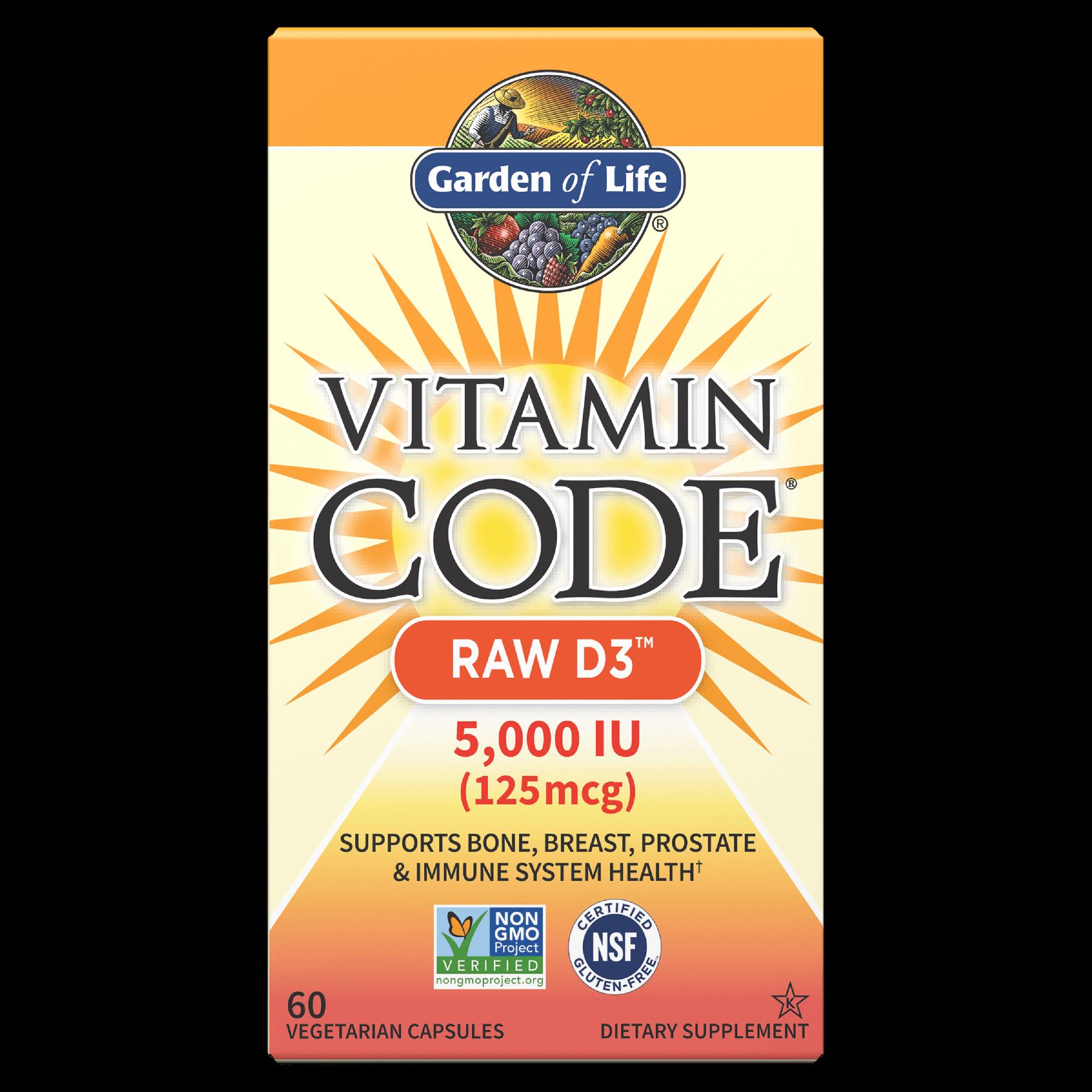 Vitamin Code Raw D3 5,000 IU - 60 Vegetarian Capsules