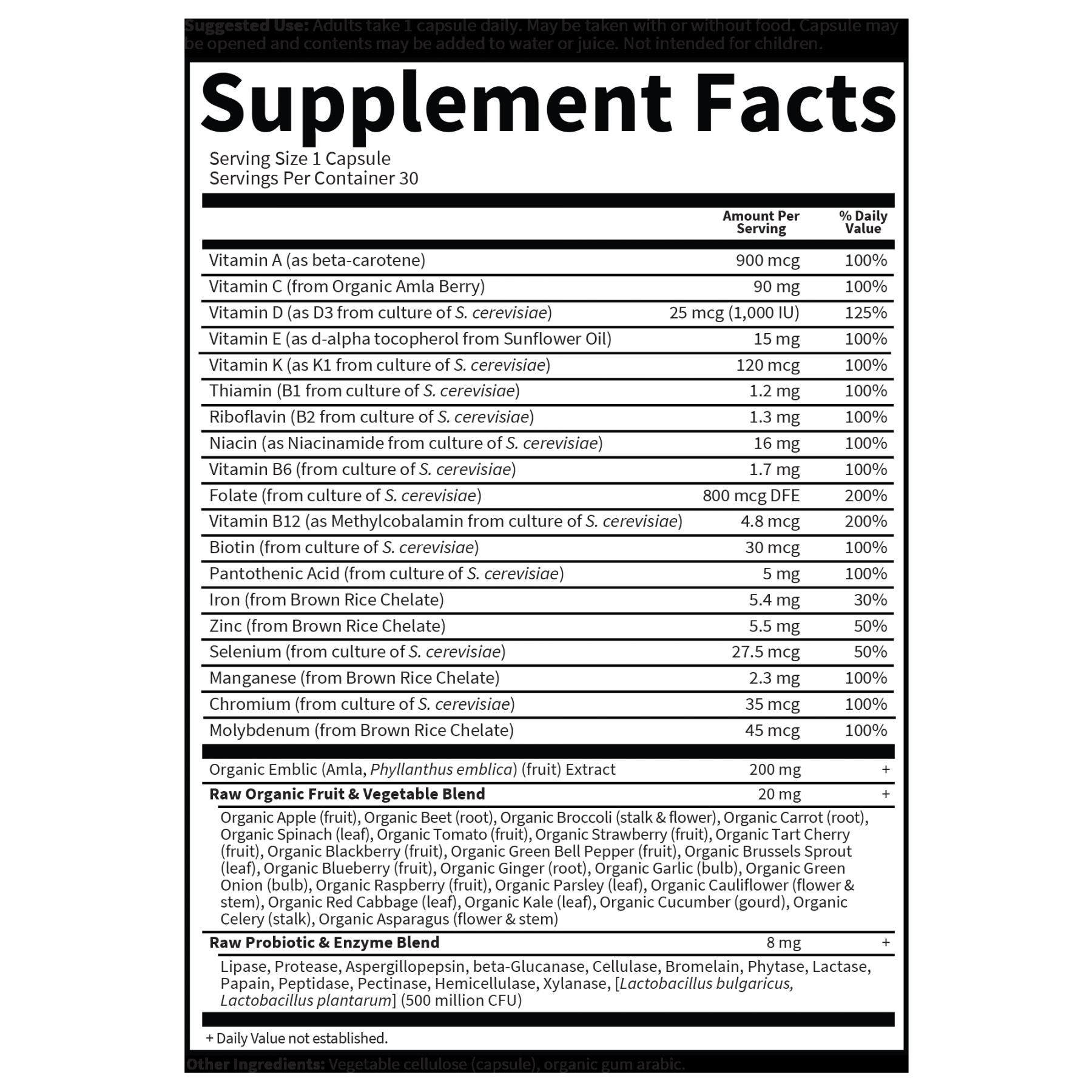 Tabela Nutricional Vitamin Code Raw One for Women