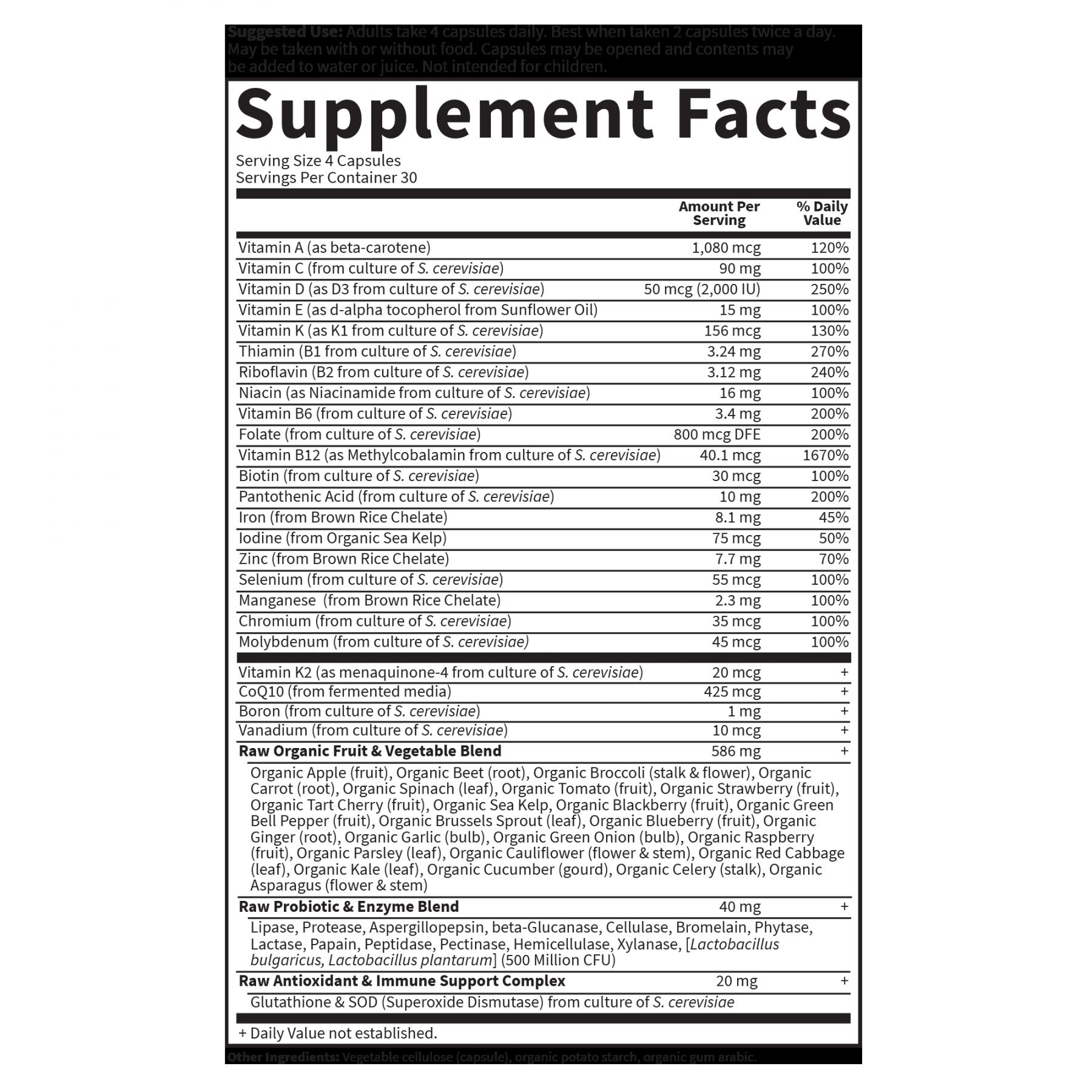Tabela Nutricional Vitamin Code Women Multivitamin