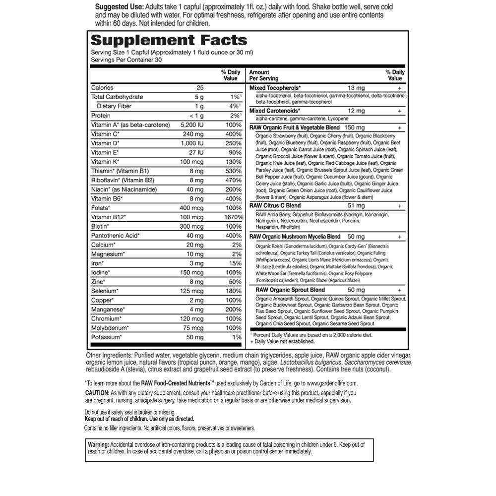 Tabela Nutricional Vitamin Code® Liquid Multivitamin
