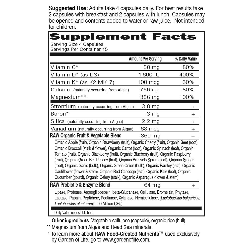 Tabela Nutricional Vitamin Code® RAW Calcium™