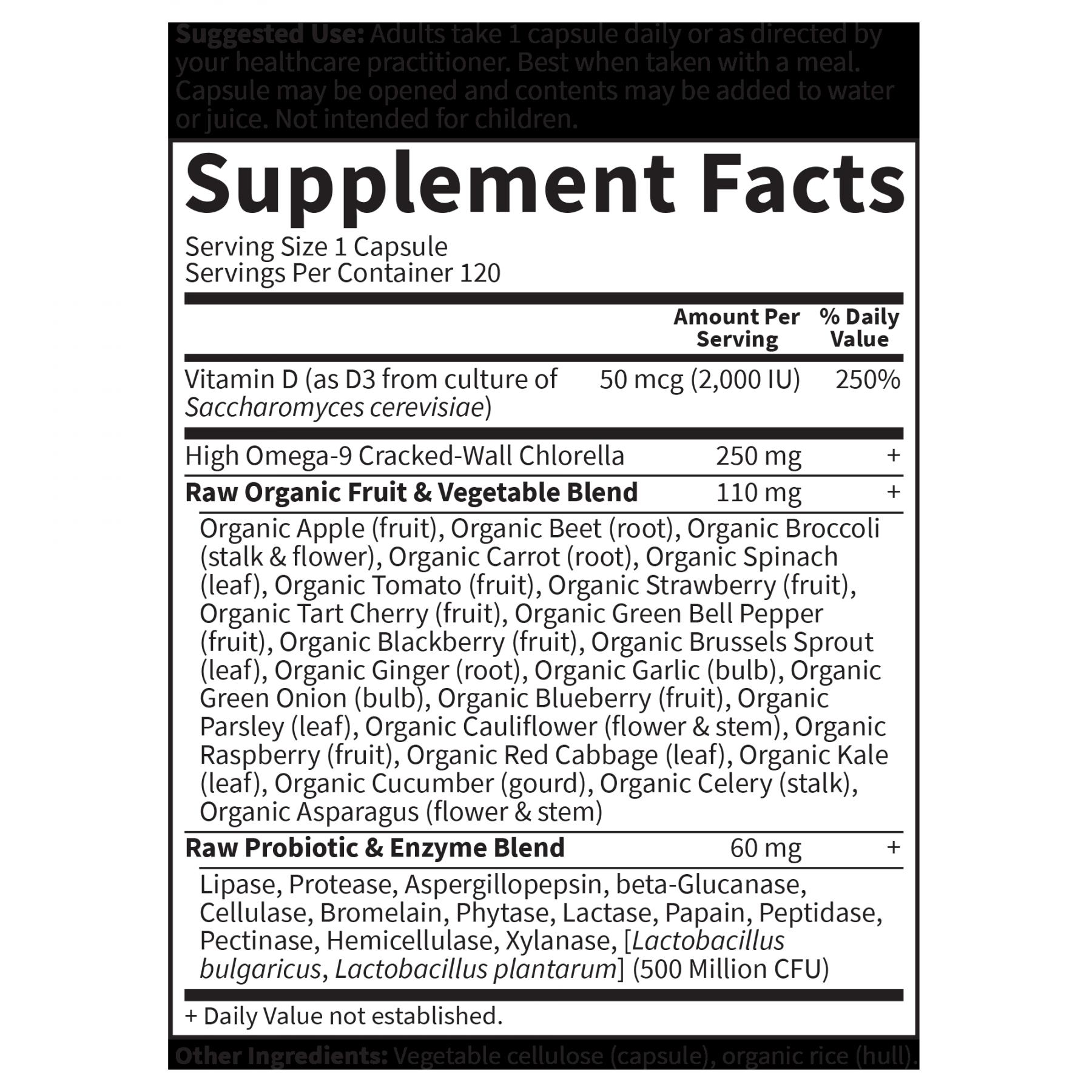 Tabela Nutricional Vitamin Code Raw D3 2.000 UI