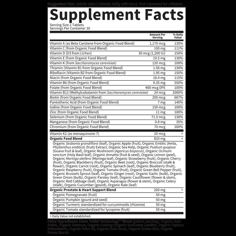 Tabela Nutricional Mykind Organics Men's Multi 40+