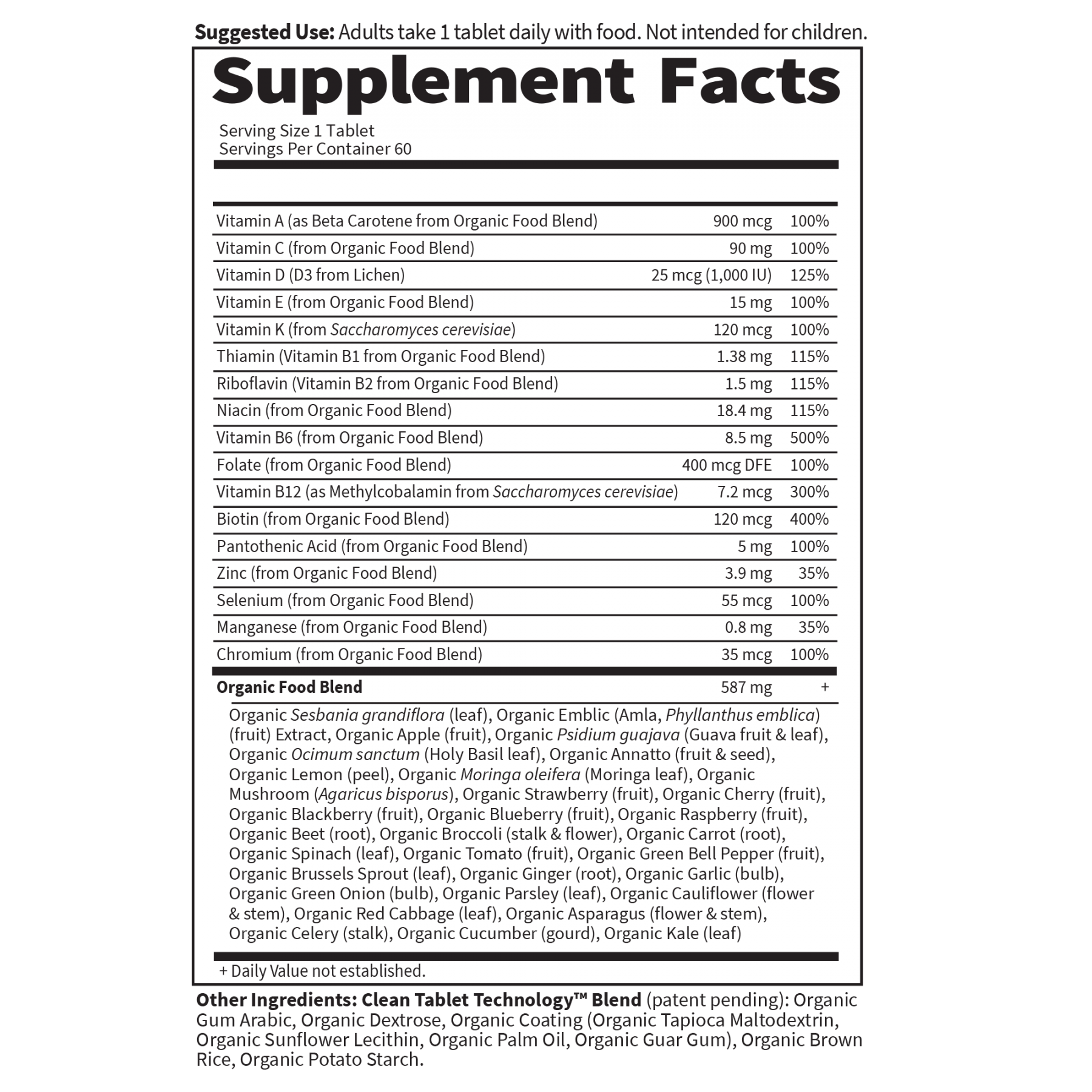 Tabela Nutricional Mykind Organics Men's Once Daily