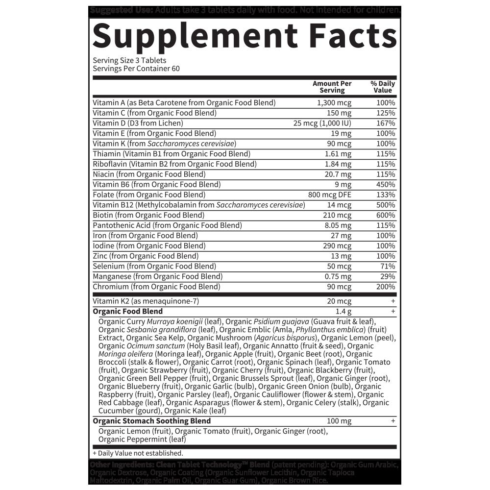 Tabela Nutricional Mykind Organics Prenatal Multi