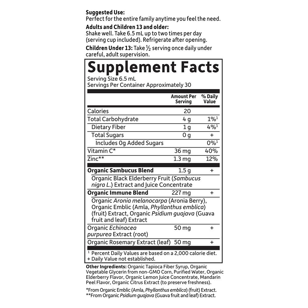 Tabela Nutricional mykind Organics Elderberry Syrup 6.59 fl oz (195 ml)