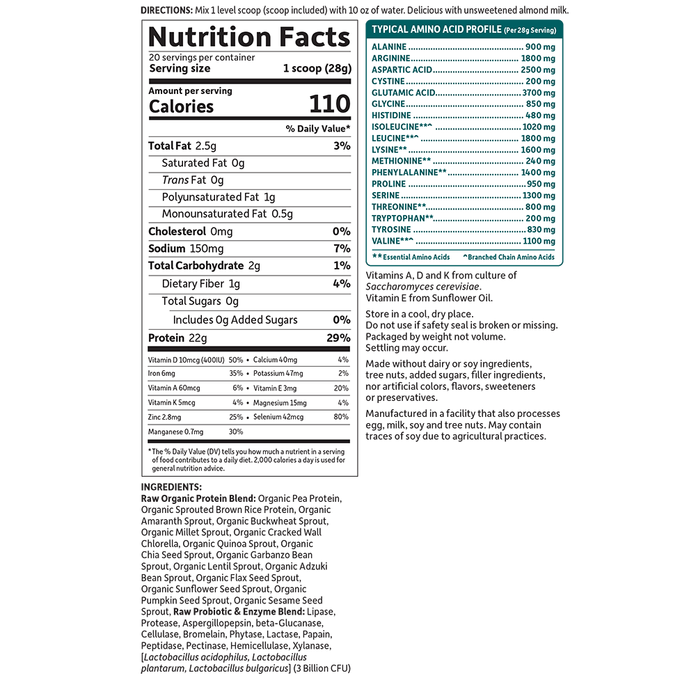 Tabela Nutricional Raw Organic Protein Powder