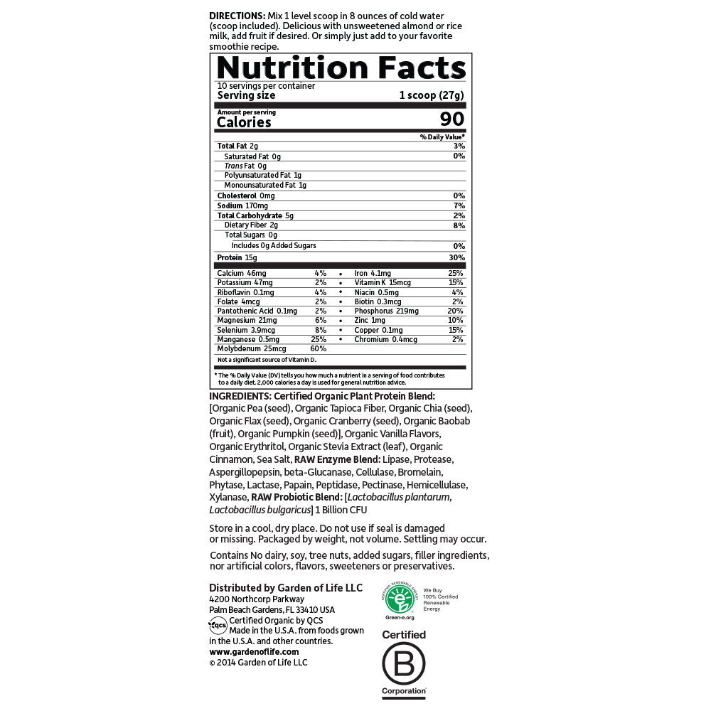 Tabela Nutricional Organic Plant Protein Smooth