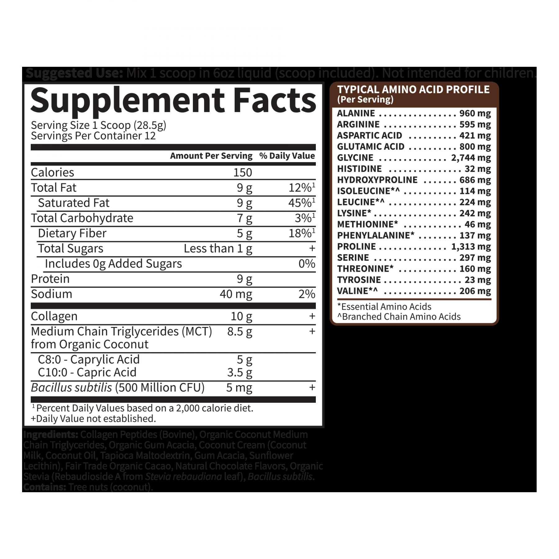 Tabela Nutricional Collagen Creamer (12 porções)