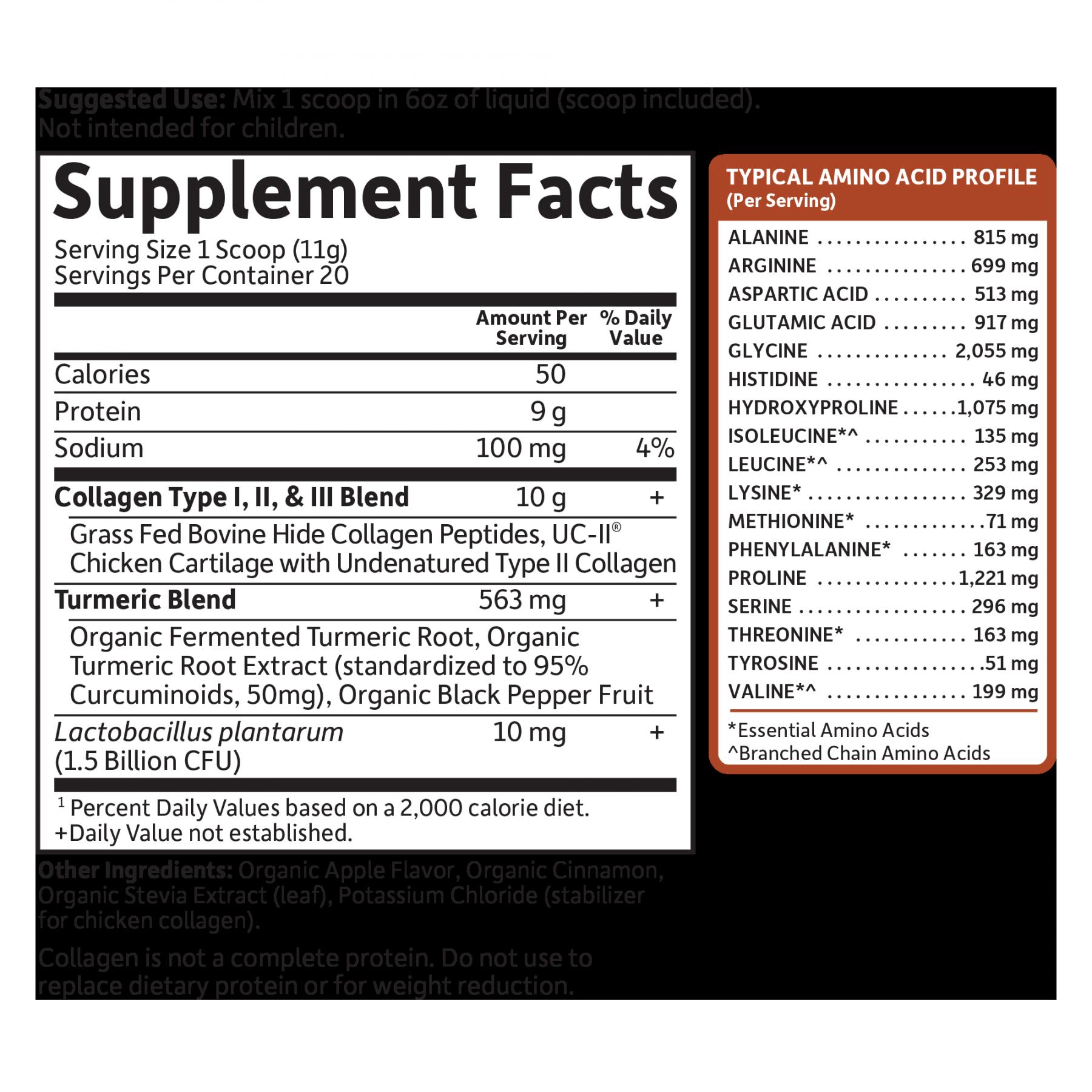 Tabela Nutricional Collagen Turmeric (20 Porções)