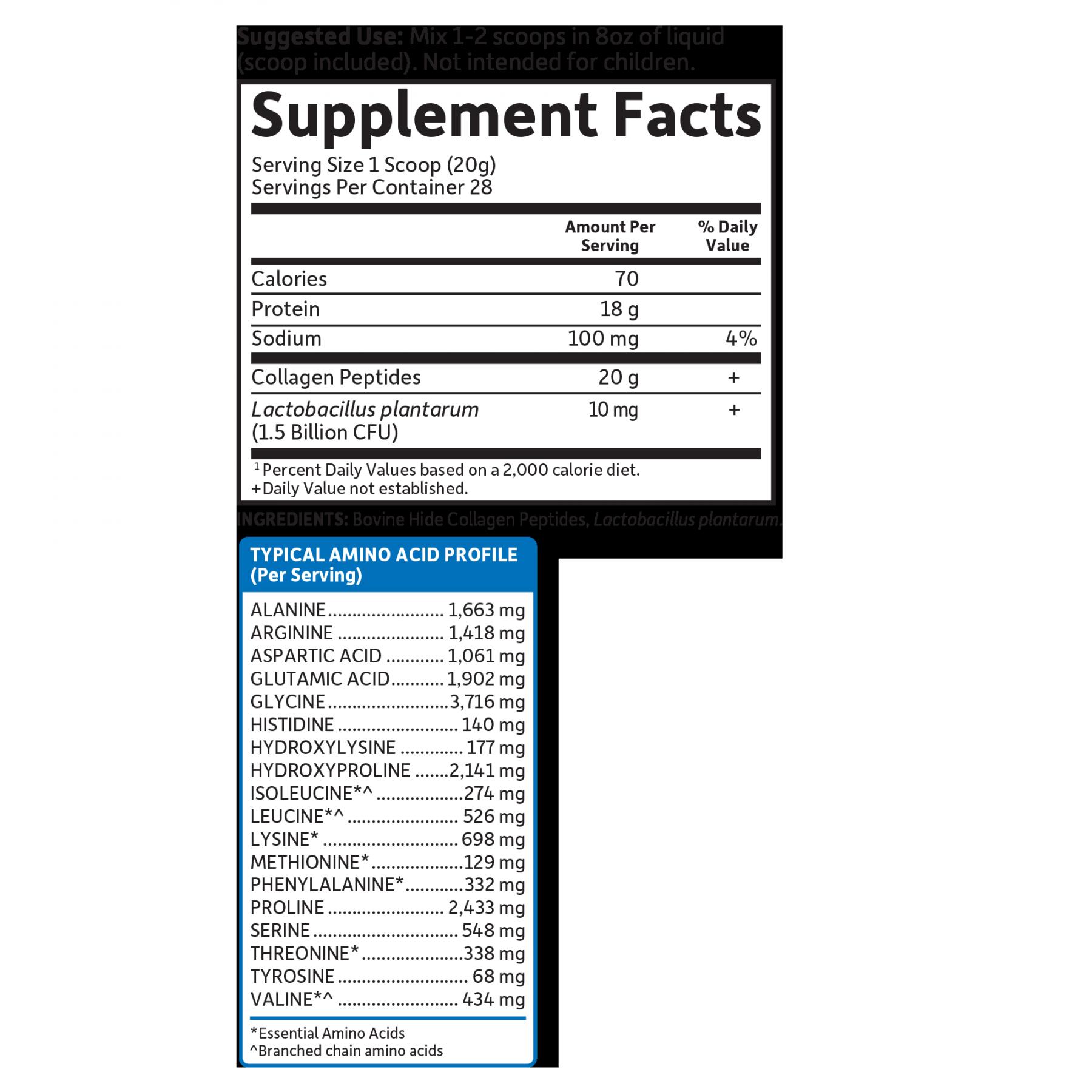 Tabela Nutricional Collagen Peptides Unflavored - (28 Porções)